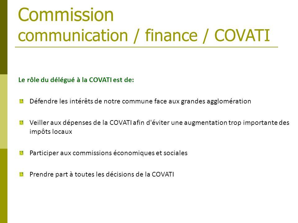 Le rôle du délégué à la COVATI est de: Défendre les intérêts de notre commune face aux grandes agglomération Veiller aux dépenses de la COVATI afin d'