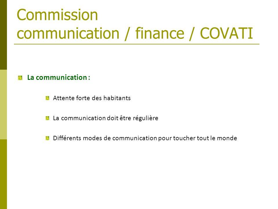 Commission communication / finance / COVATI La communication : Attente forte des habitants La communication doit être régulière Différents modes de co