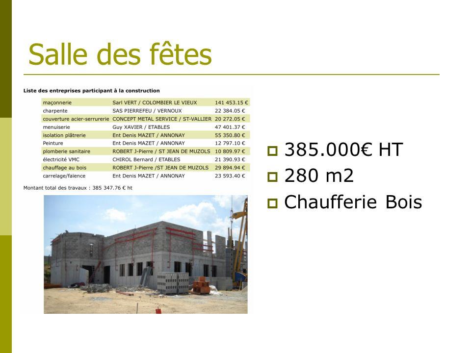 Salle des fêtes 385.000 HT 280 m2 Chaufferie Bois