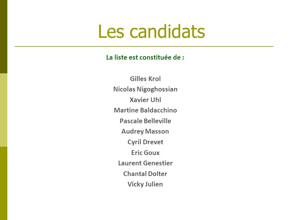 La liste est constituée de : Gilles Krol Nicolas Nigoghossian Xavier Uhl Martine Baldacchino Pascale Belleville Audrey Masson Cyril Drevet Eric Goux L