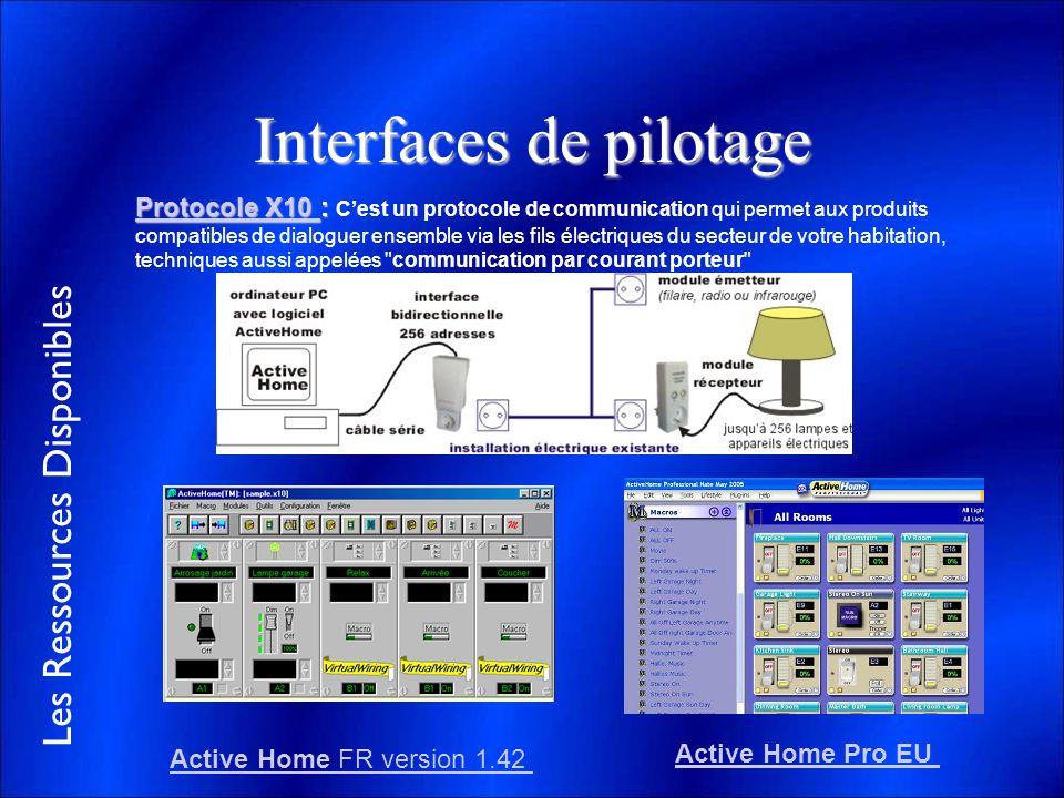 Les Ressources Disponibles Interfaces de pilotage Protocole X10 Protocole X10 : Protocole X10 : Cest un protocole de communication qui permet aux prod