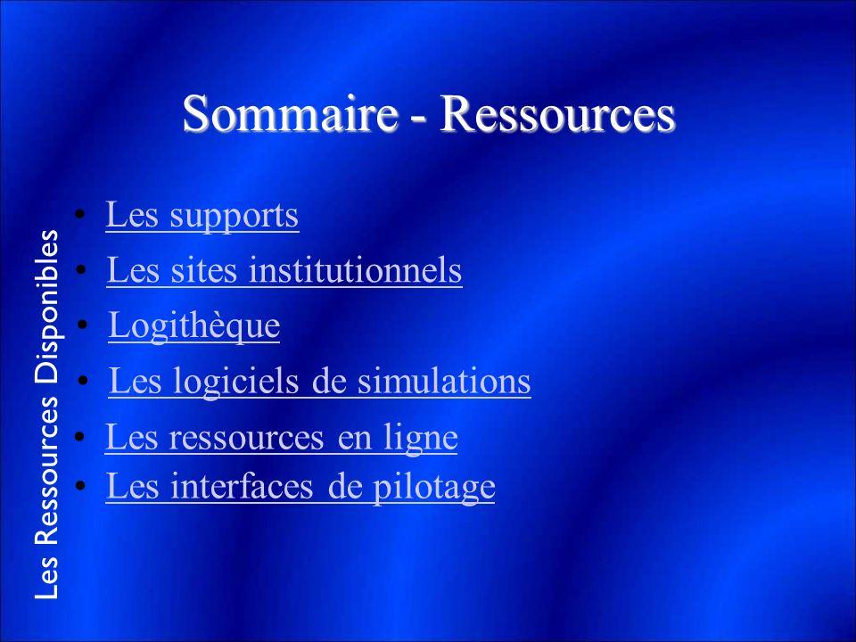 Les Ressources Disponibles Sommaire - Ressources Les supports Les ressources en ligne Les sites institutionnels Logithèque Les logiciels de simulation