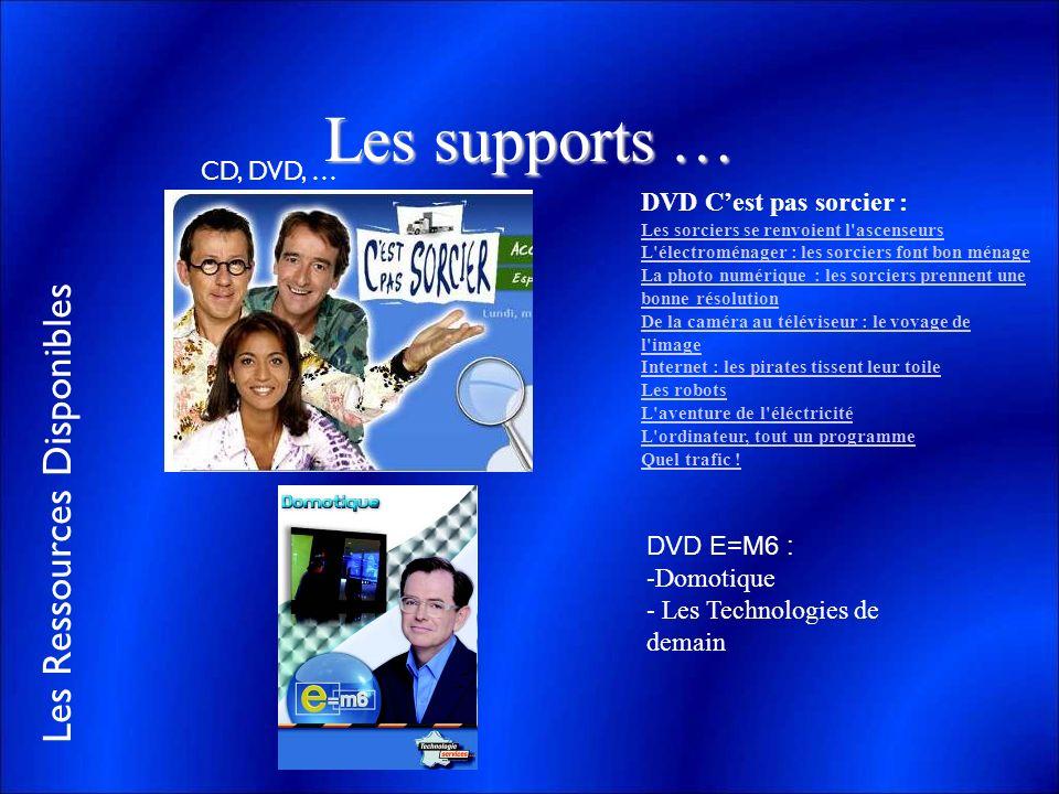 Les Ressources Disponibles Les supports … CD, DVD, … DVD Cest pas sorcier : Les sorciers se renvoient l'ascenseurs L'électroménager : les sorciers fon