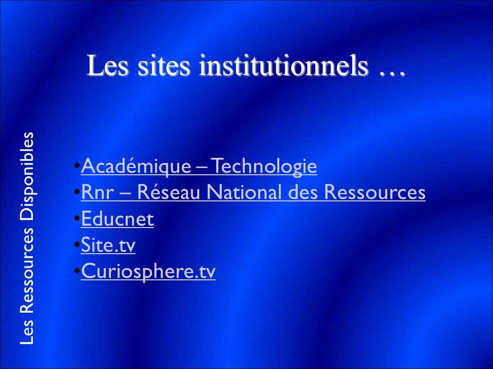 Les Ressources Disponibles Les sites institutionnels … Académique – Technologie Rnr – Réseau National des Ressources Educnet Site.tv Curiosphere.tv