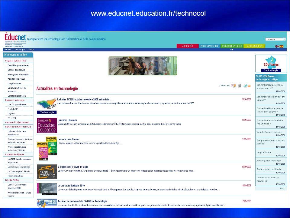 Les Ressources Disponibles www.educnet.education.fr/technocol