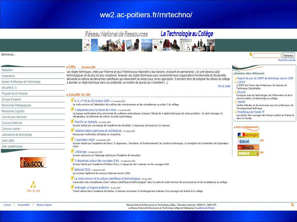 Les Ressources Disponibles ww2.ac-poitiers.fr/rnrtechno/