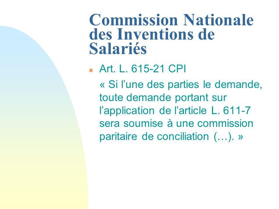 Commission Nationale des Inventions de Salariés n Art.