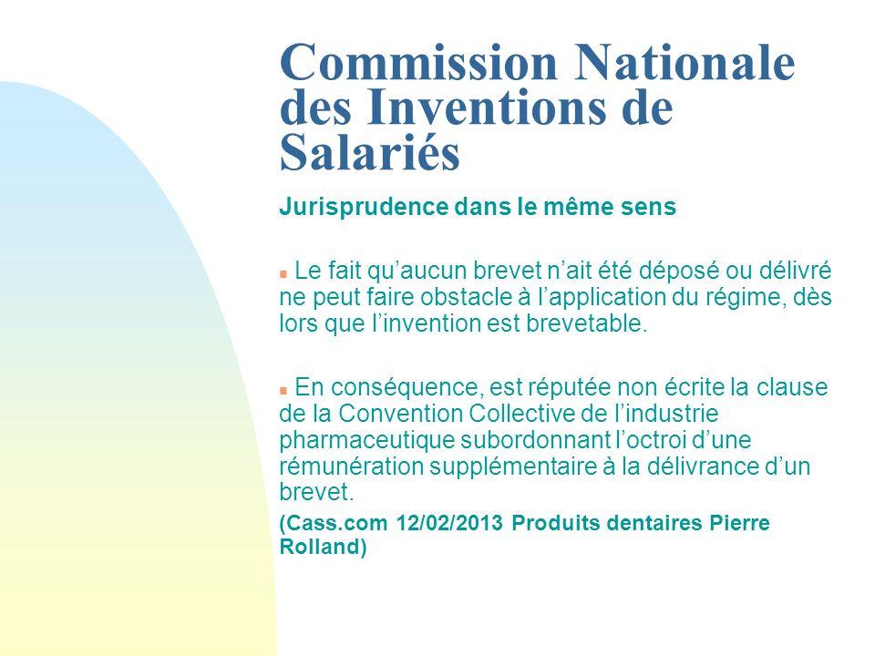 Commission Nationale des Inventions de Salariés JUSTE PRIX (montant moyen alloué par invention).
