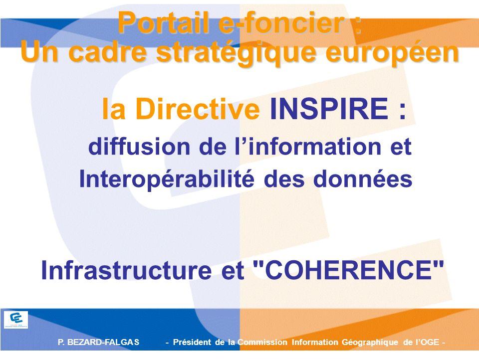 P. BEZARD-FALGAS - Président de la Commission Information Géographique de lOGE - la Directive INSPIRE : Portail e-foncier : Un cadre stratégique europ