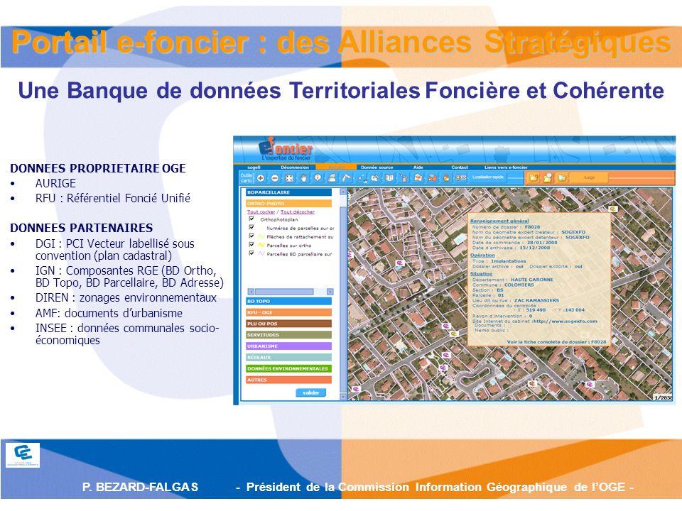 P. BEZARD-FALGAS - Président de la Commission Information Géographique de lOGE - Portail e-foncier : des Alliances Stratégiques Une Banque de données