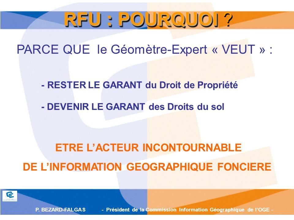 P. BEZARD-FALGAS - Président de la Commission Information Géographique de lOGE - RFU : POURQUOI RFU : POURQUOI ? PARCE QUE le Géomètre-Expert « VEUT »
