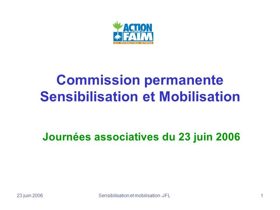 23 juin 2006 Sensibilisation et mobilisation -JFL 1 Commission permanente Sensibilisation et Mobilisation Journées associatives du 23 juin 2006