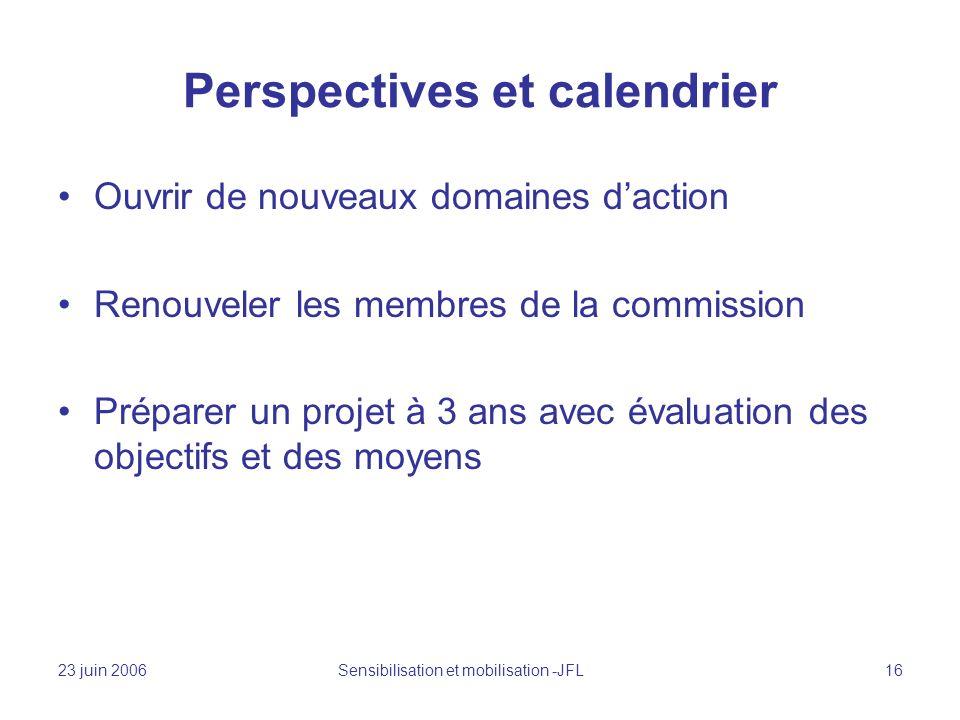 23 juin 2006 Sensibilisation et mobilisation -JFL 16 Perspectives et calendrier Ouvrir de nouveaux domaines daction Renouveler les membres de la commission Préparer un projet à 3 ans avec évaluation des objectifs et des moyens