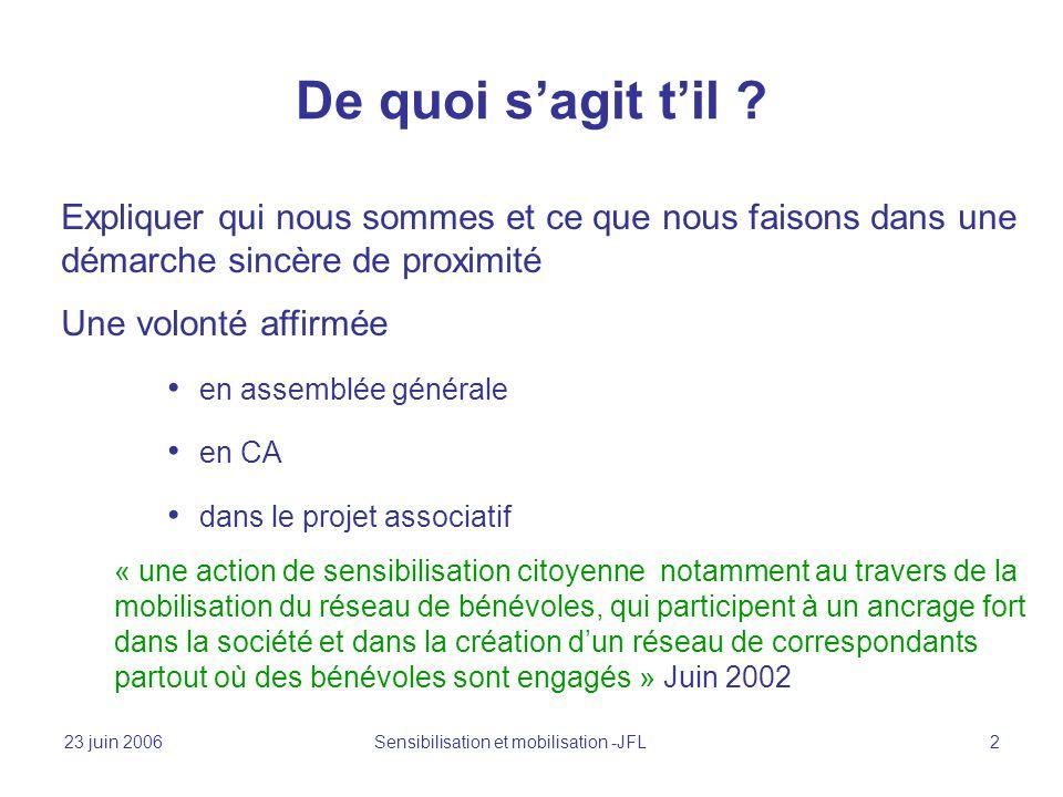23 juin 2006 Sensibilisation et mobilisation -JFL 2 De quoi sagit til .
