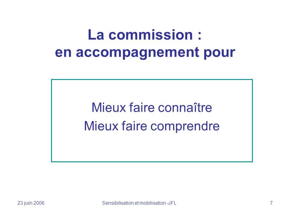 23 juin 2006 Sensibilisation et mobilisation -JFL 7 La commission : en accompagnement pour Mieux faire connaître Mieux faire comprendre