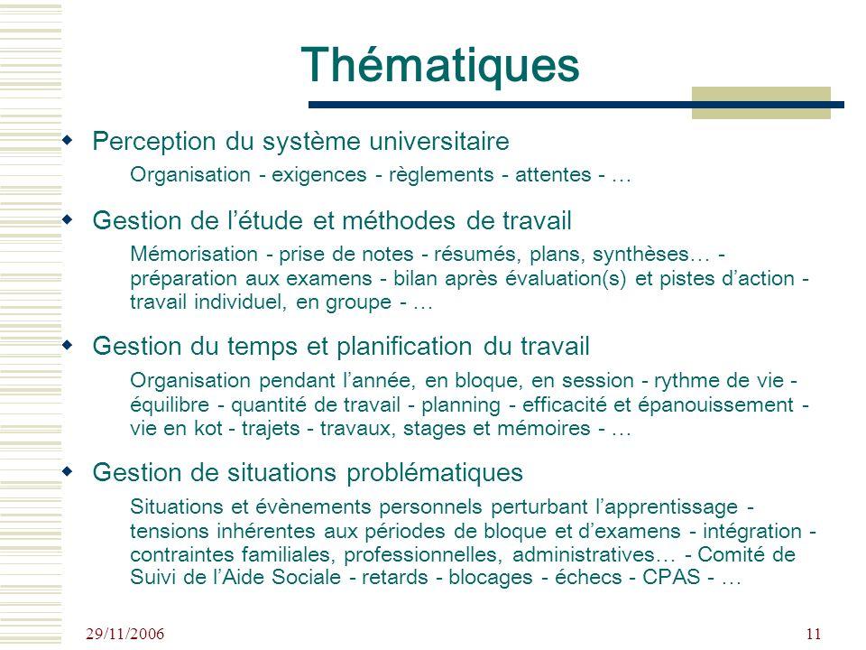29/11/2006 11 Perception du système universitaire Organisation - exigences - règlements - attentes - … Gestion de létude et méthodes de travail Mémori