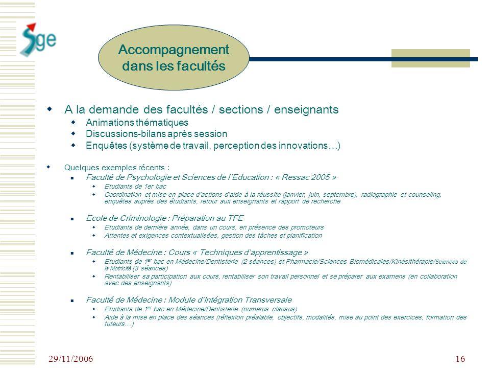 29/11/2006 16 A la demande des facultés / sections / enseignants Animations thématiques Discussions-bilans après session Enquêtes (système de travail,