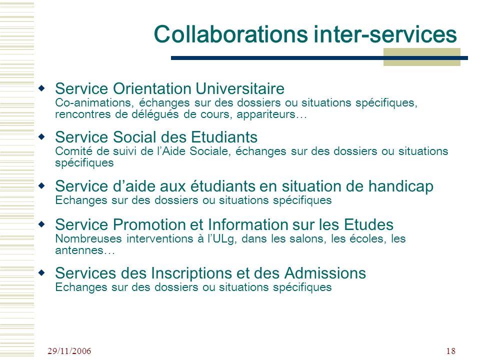 29/11/2006 18 Collaborations inter-services Service Orientation Universitaire Co-animations, échanges sur des dossiers ou situations spécifiques, renc