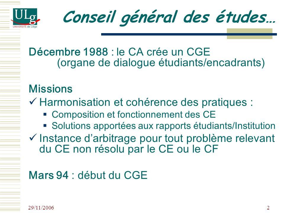 29/11/2006 2 Conseil général des études… Décembre 1988 : le CA crée un CGE (organe de dialogue étudiants/encadrants) Missions Harmonisation et cohéren