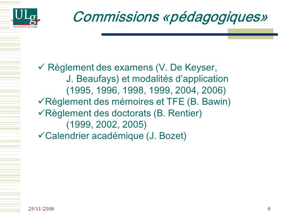 29/11/2006 6 Règlement des examens (V. De Keyser, J. Beaufays) et modalités dapplication (1995, 1996, 1998, 1999, 2004, 2006) Règlement des mémoires e