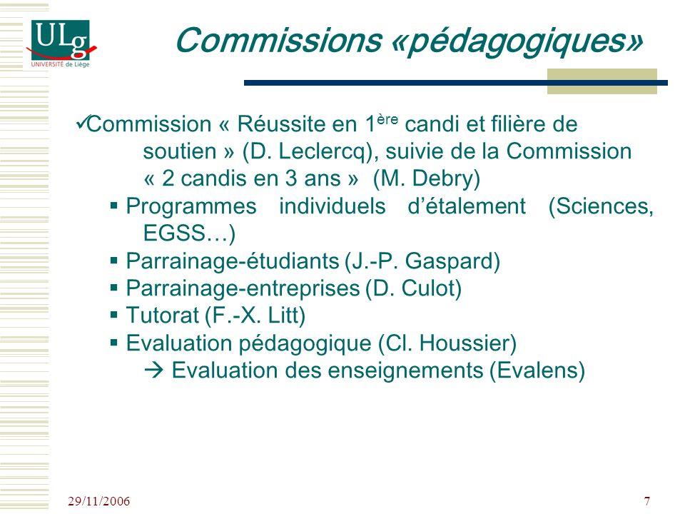 29/11/2006 7 Commission « Réussite en 1 ère candi et filière de soutien » (D. Leclercq), suivie de la Commission « 2 candis en 3 ans » (M. Debry) Prog