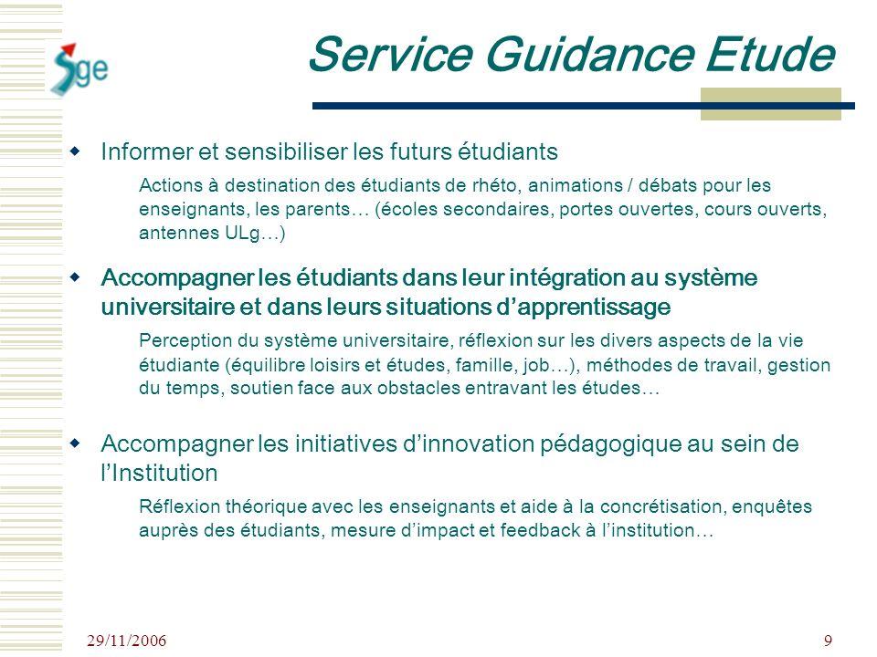 29/11/2006 9 Service Guidance Etude Informer et sensibiliser les futurs étudiants Actions à destination des étudiants de rhéto, animations / débats po