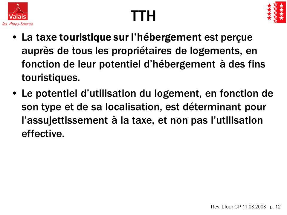 Rev. LTour CP 11.08.2008 p. 12 TTH La taxe touristique sur lhébergement est perçue auprès de tous les propriétaires de logements, en fonction de leur