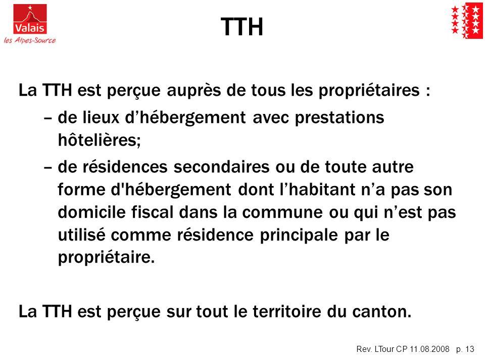 Rev. LTour CP 11.08.2008 p. 13 TTH La TTH est perçue auprès de tous les propriétaires : – –de lieux dhébergement avec prestations hôtelières; – –de ré