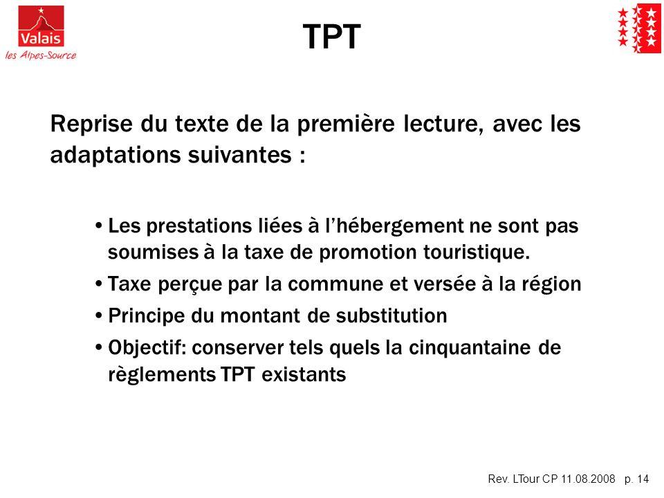 Rev. LTour CP 11.08.2008 p. 14 TPT Reprise du texte de la première lecture, avec les adaptations suivantes : Les prestations liées à lhébergement ne s