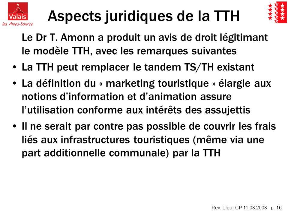 Rev. LTour CP 11.08.2008 p. 16 Aspects juridiques de la TTH Le Dr T. Amonn a produit un avis de droit légitimant le modèle TTH, avec les remarques sui