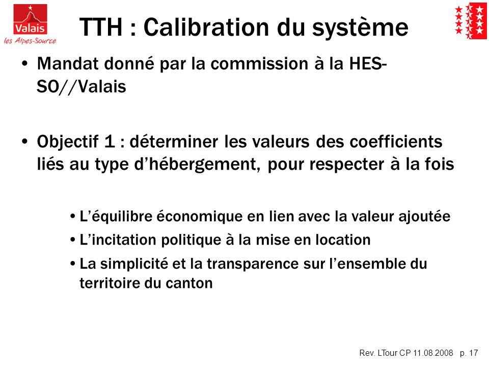 Rev. LTour CP 11.08.2008 p. 17 TTH : Calibration du système Mandat donné par la commission à la HES- SO//Valais Objectif 1 : déterminer les valeurs de
