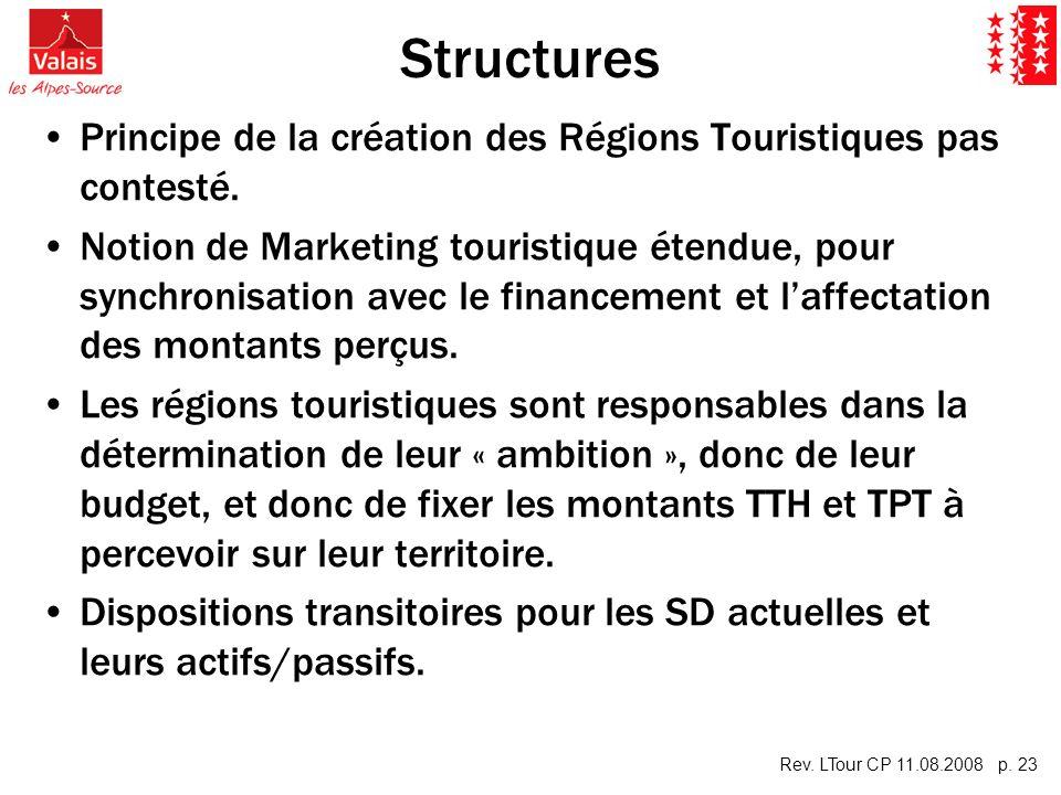 Rev. LTour CP 11.08.2008 p. 23 Structures Principe de la création des Régions Touristiques pas contesté. Notion de Marketing touristique étendue, pour