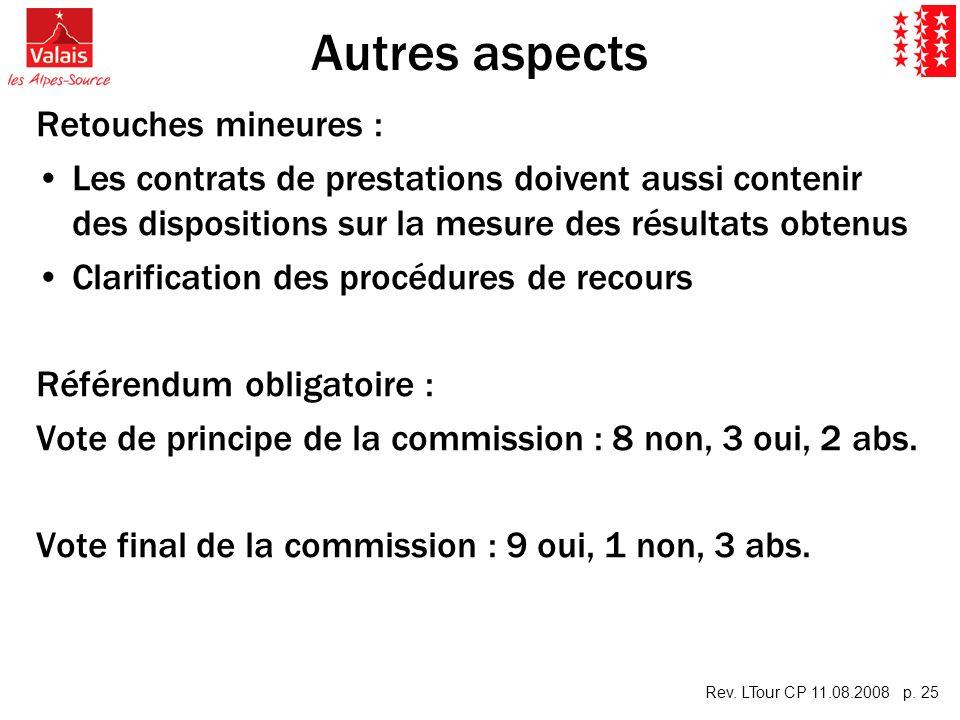 Rev. LTour CP 11.08.2008 p. 25 Autres aspects Retouches mineures : Les contrats de prestations doivent aussi contenir des dispositions sur la mesure d
