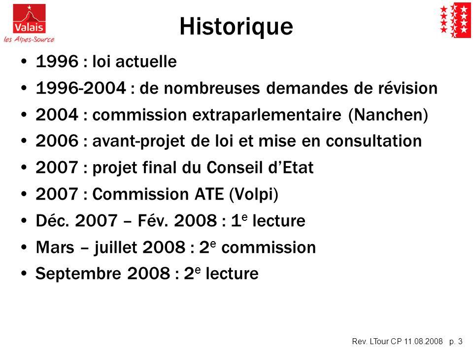Rev. LTour CP 11.08.2008 p. 3 Historique 1996 : loi actuelle 1996-2004 : de nombreuses demandes de révision 2004 : commission extraparlementaire (Nanc