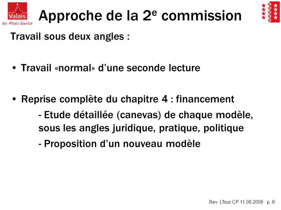 Rev. LTour CP 11.08.2008 p. 6 Approche de la 2 e commission Travail sous deux angles : Travail «normal» dune seconde lecture Reprise complète du chapi