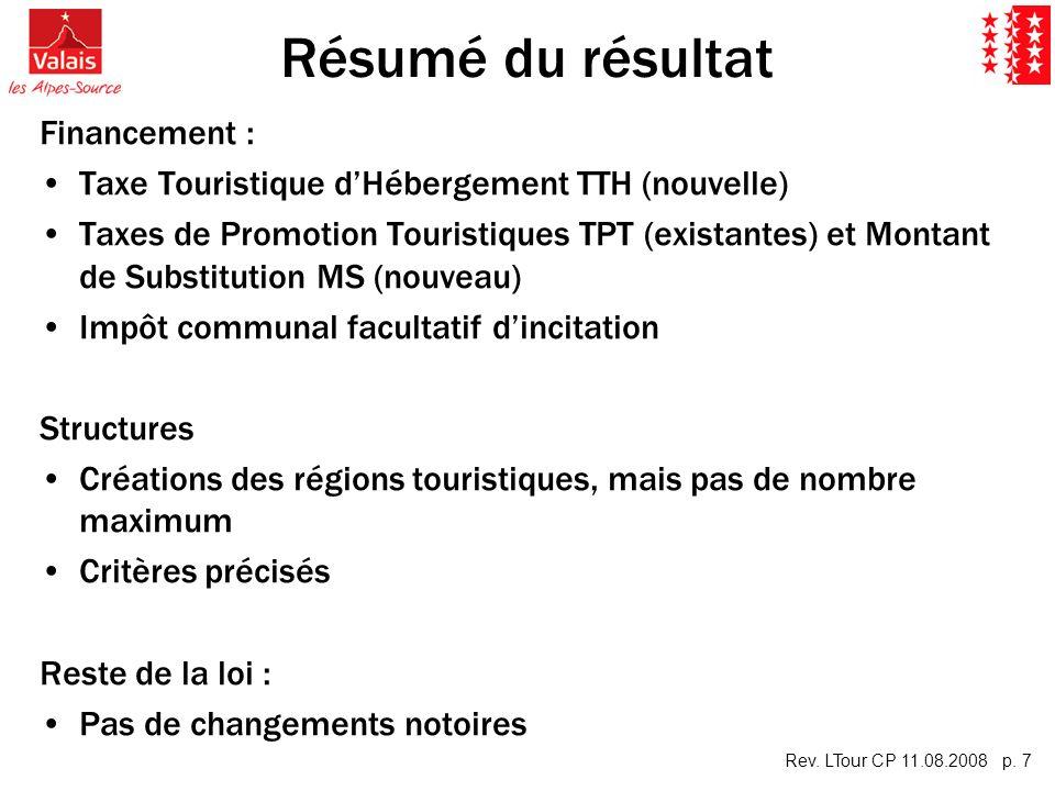Rev. LTour CP 11.08.2008 p. 7 Résumé du résultat Financement : Taxe Touristique dHébergement TTH (nouvelle) Taxes de Promotion Touristiques TPT (exist