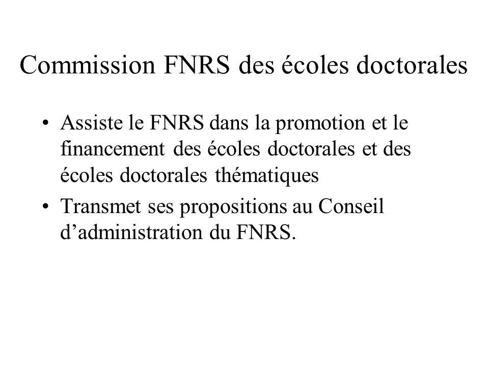 Assiste le FNRS dans la promotion et le financement des écoles doctorales et des écoles doctorales thématiques Transmet ses propositions au Conseil dadministration du FNRS.