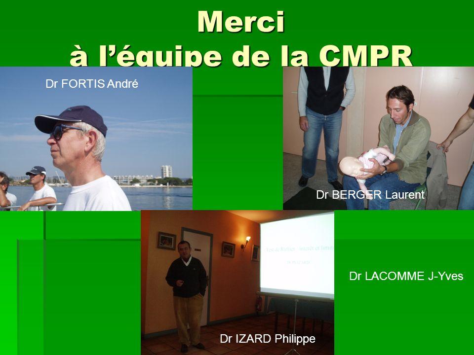 Merci à léquipe de la CMPR Dr IZARD Philippe Dr BERGER Laurent Dr FORTIS André Dr LACOMME J-Yves