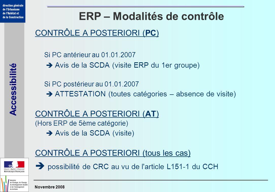 Novembre 2008 Accessibilité CONTRÔLE A POSTERIORI (PC) Si PC antérieur au 01.01.2007 Avis de la SCDA (visite ERP du 1er groupe) Si PC postérieur au 01