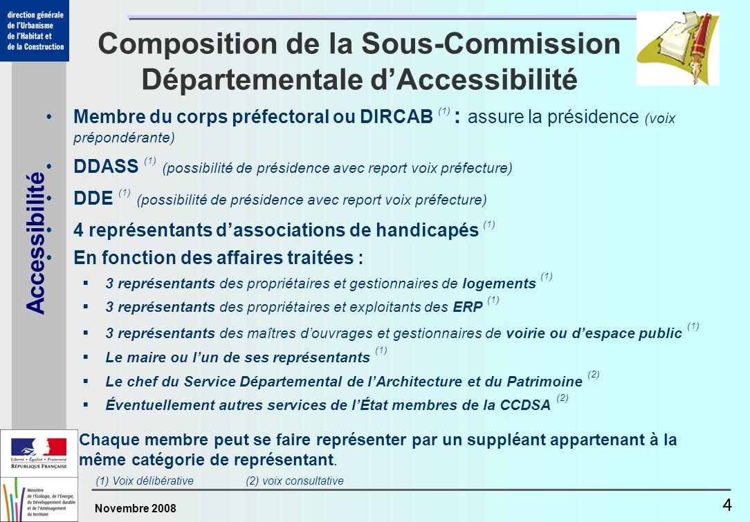 Novembre 2008 Accessibilité 4 Composition de la Sous-Commission Départementale dAccessibilité Membre du corps préfectoral ou DIRCAB (1) : assure la pr