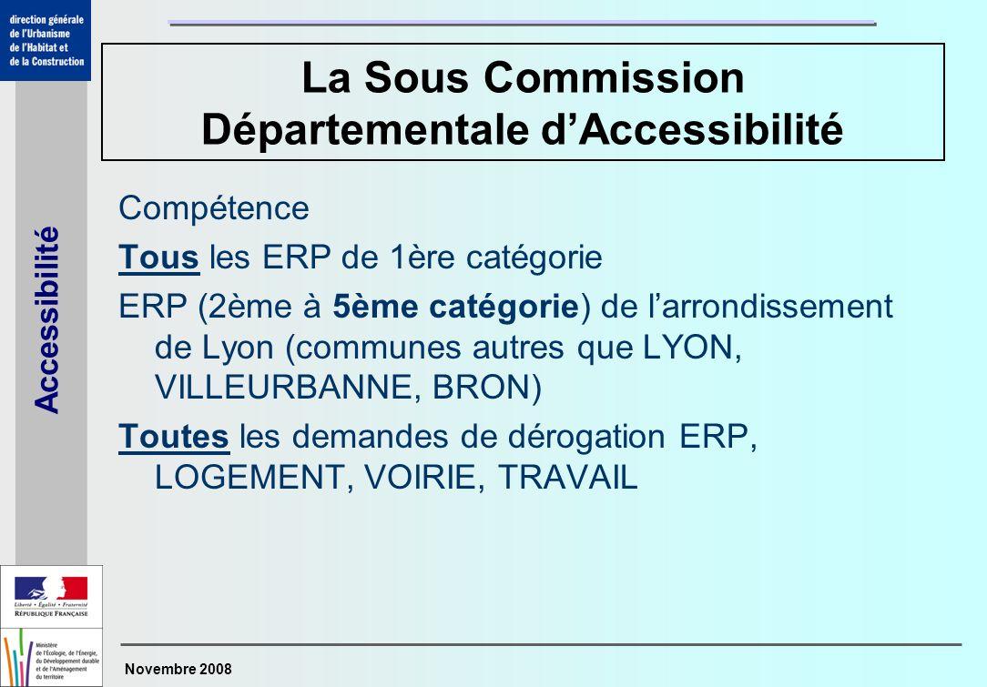 Novembre 2008 Accessibilité La Sous Commission Départementale dAccessibilité Compétence Tous les ERP de 1ère catégorie ERP (2ème à 5ème catégorie) de