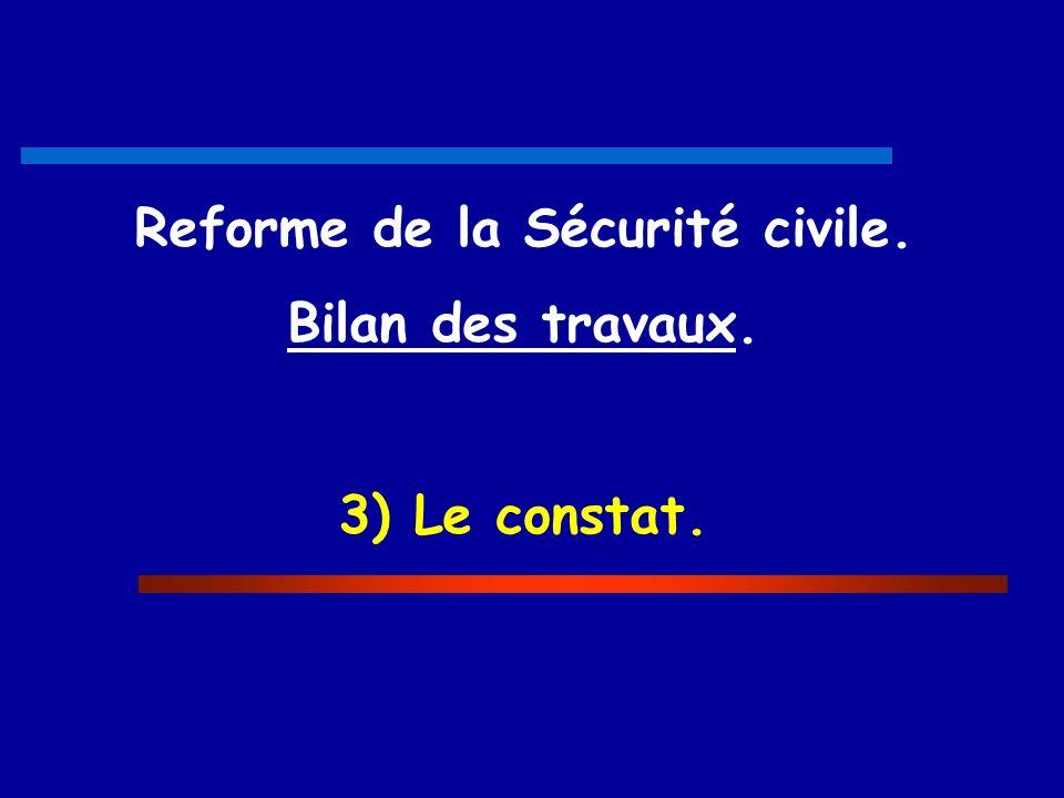 Reforme de la Sécurité civile. Bilan des travaux. 3) Le constat.