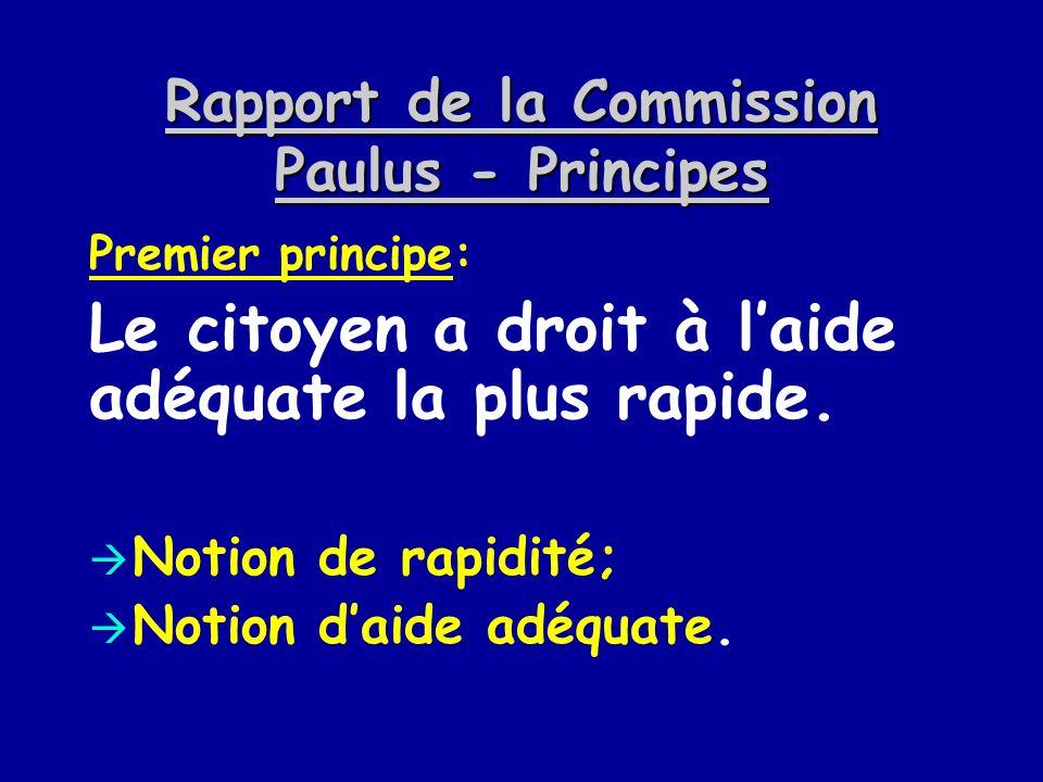 Rapport de la Commission Paulus - Principes Premier principe: Le citoyen a droit à laide adéquate la plus rapide. Notion de rapidité; Notion daide adé