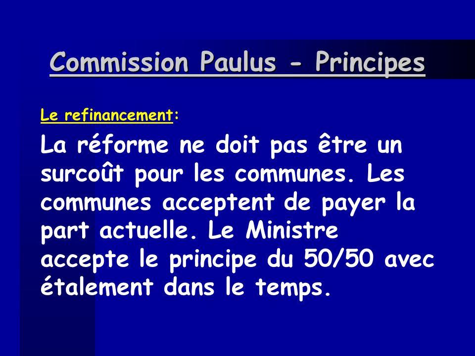 Commission Paulus - Principes Le refinancement: La réforme ne doit pas être un surcoût pour les communes. Les communes acceptent de payer la part actu