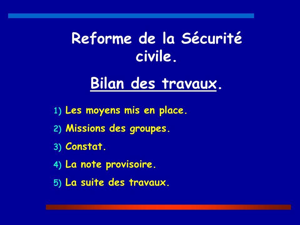 Reforme de la Sécurité civile. Bilan des travaux. 1) Les moyens mis en place. 2) Missions des groupes. 3) Constat. 4) La note provisoire. 5) La suite