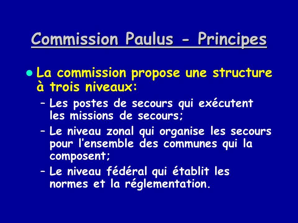 Commission Paulus - Principes La commission propose une structure à trois niveaux: –Les postes de secours qui exécutent les missions de secours; –Le n