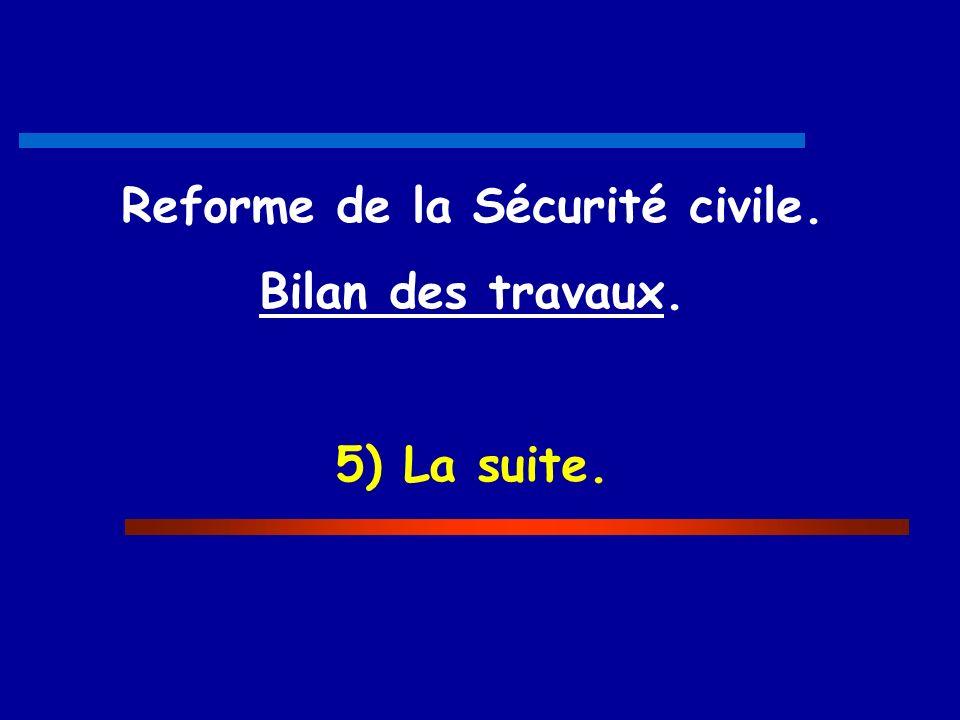 Reforme de la Sécurité civile. Bilan des travaux. 5) La suite.