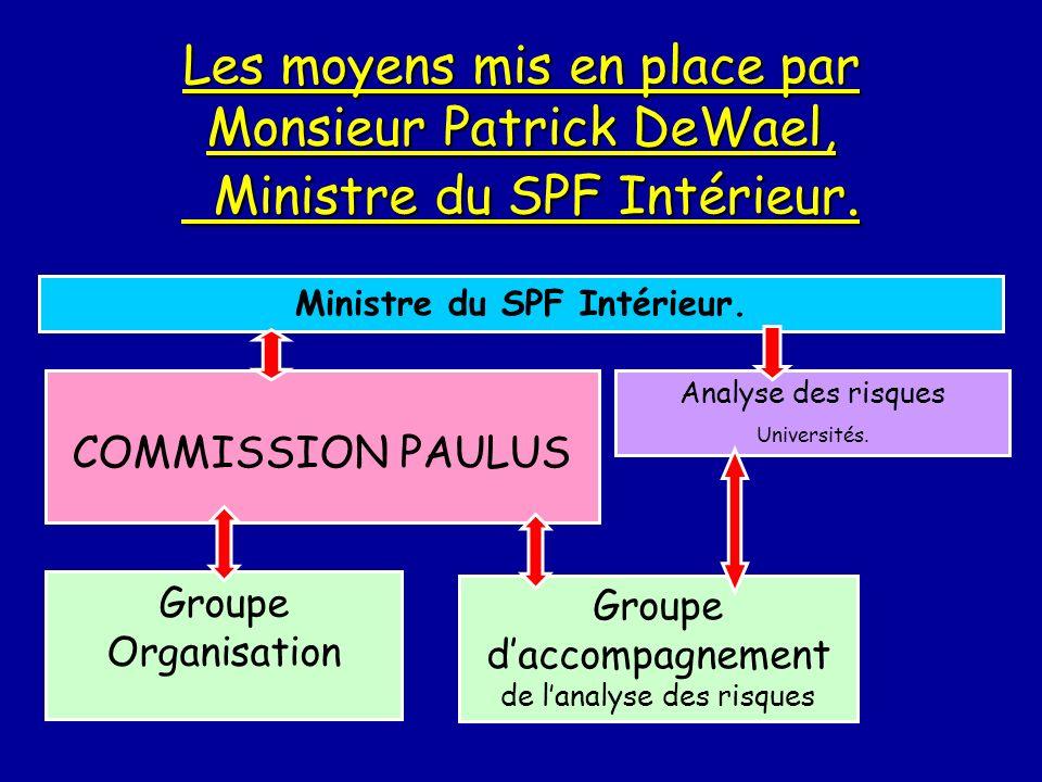 Ministre du SPF Intérieur. Les moyens mis en place par Monsieur Patrick DeWael, Ministre du SPF Intérieur. Ministre du SPF Intérieur. COMMISSION PAULU