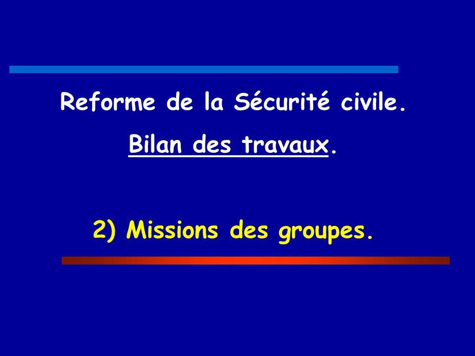 Reforme de la Sécurité civile. Bilan des travaux. 2) Missions des groupes.