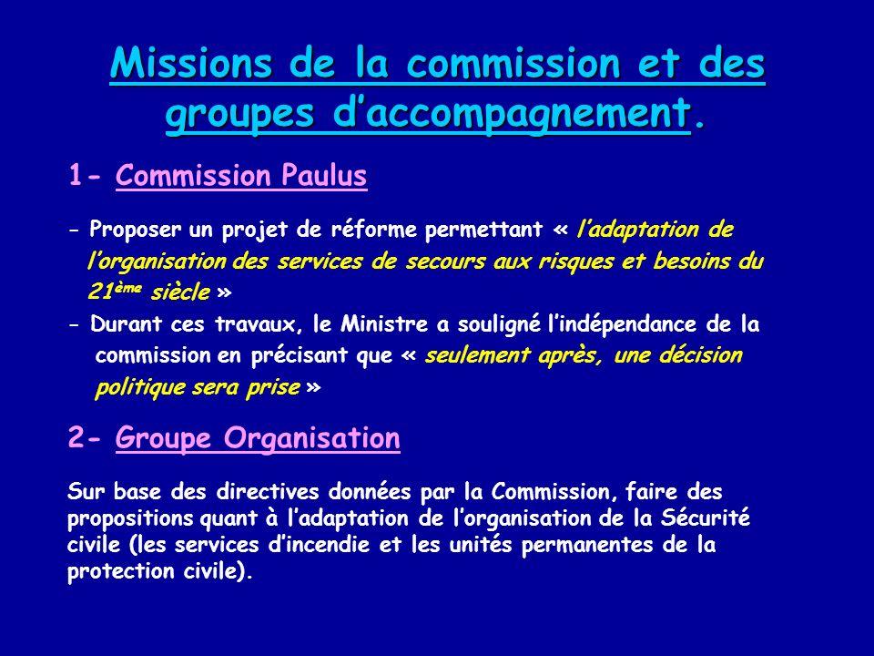 Missions de la commission et des groupes daccompagnement. 1- Commission Paulus - Proposer un projet de réforme permettant « ladaptation de lorganisati